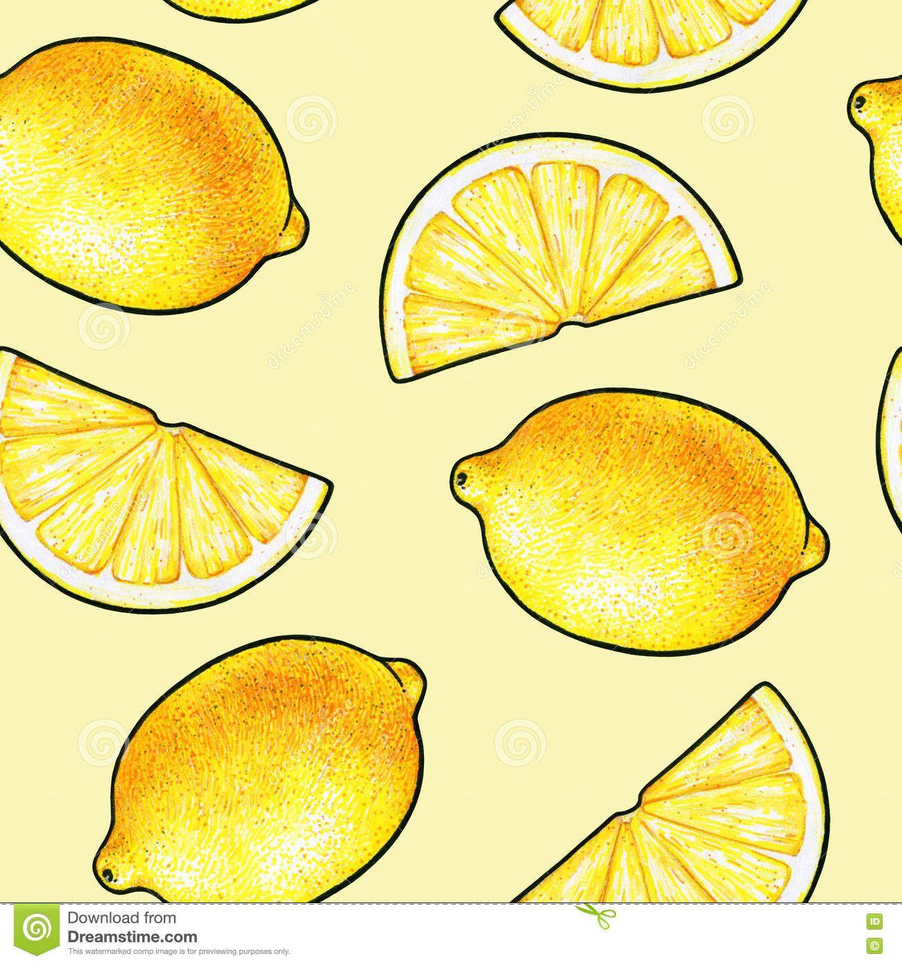 Frutas Amarillas Hermosas Del Limon Aisladas En Fondo Amarillo Dibujo Del Garabato Del Limon Modelo Inconsutil Foto De Dibujos De Frutas Dibujos Fondo Amarillo