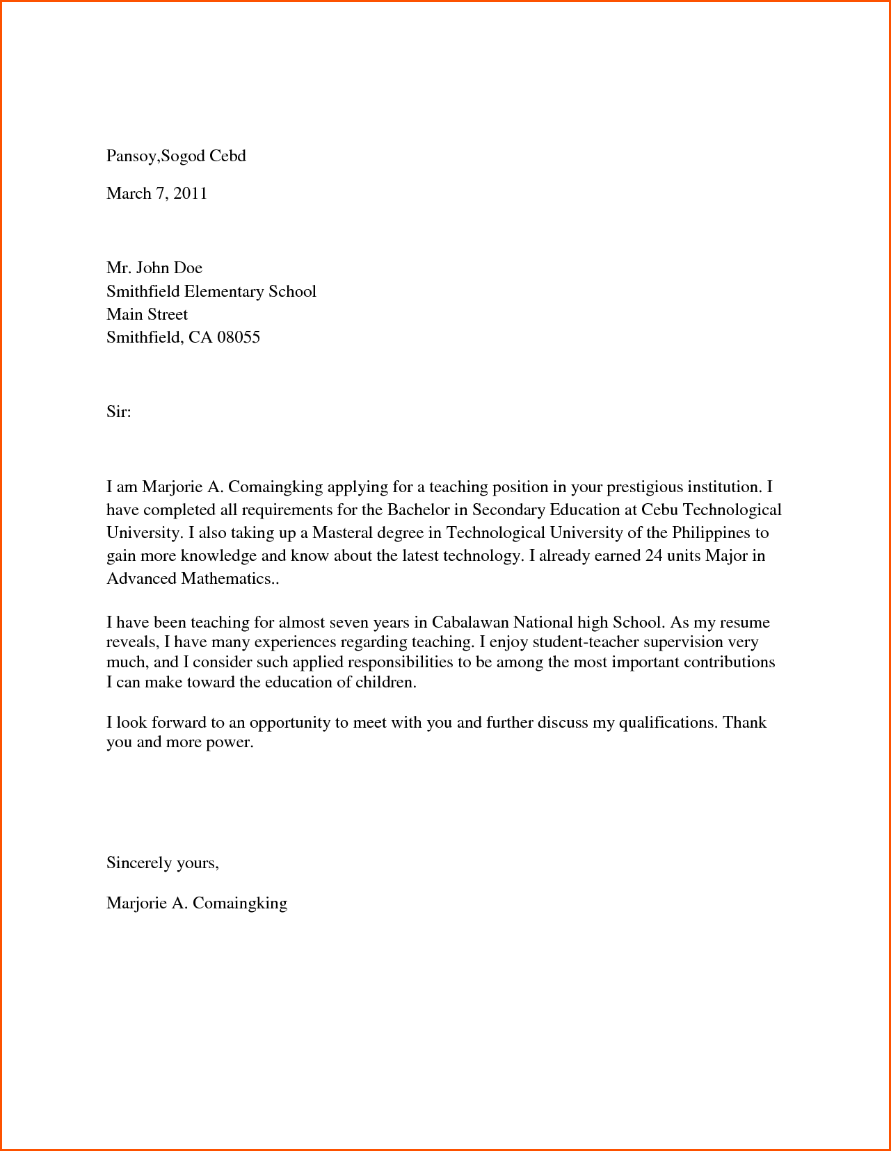 College Application Letter Recommendation For Admission University