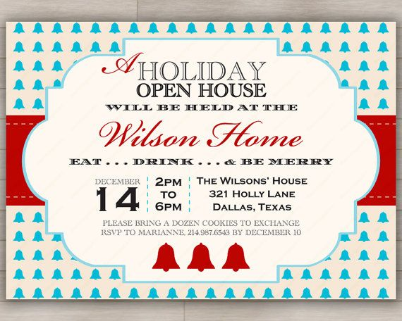 Holiday Open House Party Invitation Christmas New Year S Or Seasonal Event Invite Open House Parties Open House Party Invitations House Party Invitation