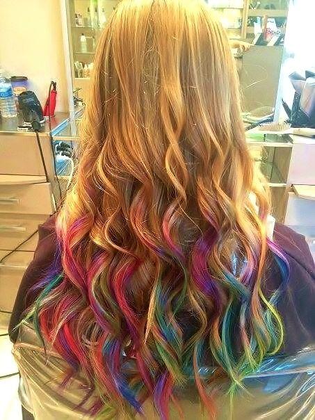 rainbow ombre beauty hair dye