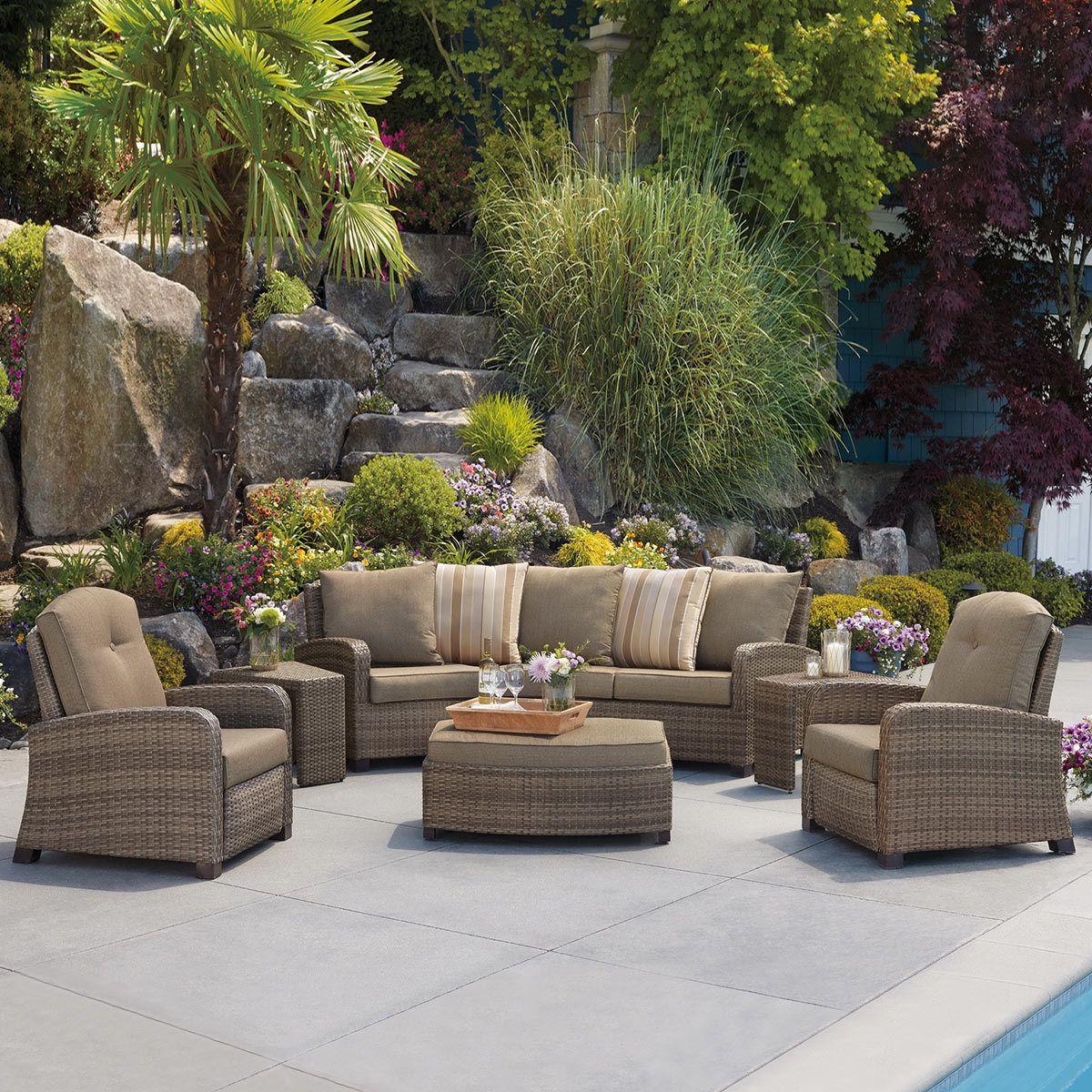 Barcalounger 6 Piece Fully Woven Recliner Seating Set Garden