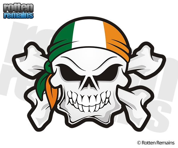 Ireland flag bandana irish skull crossbones sticker decal