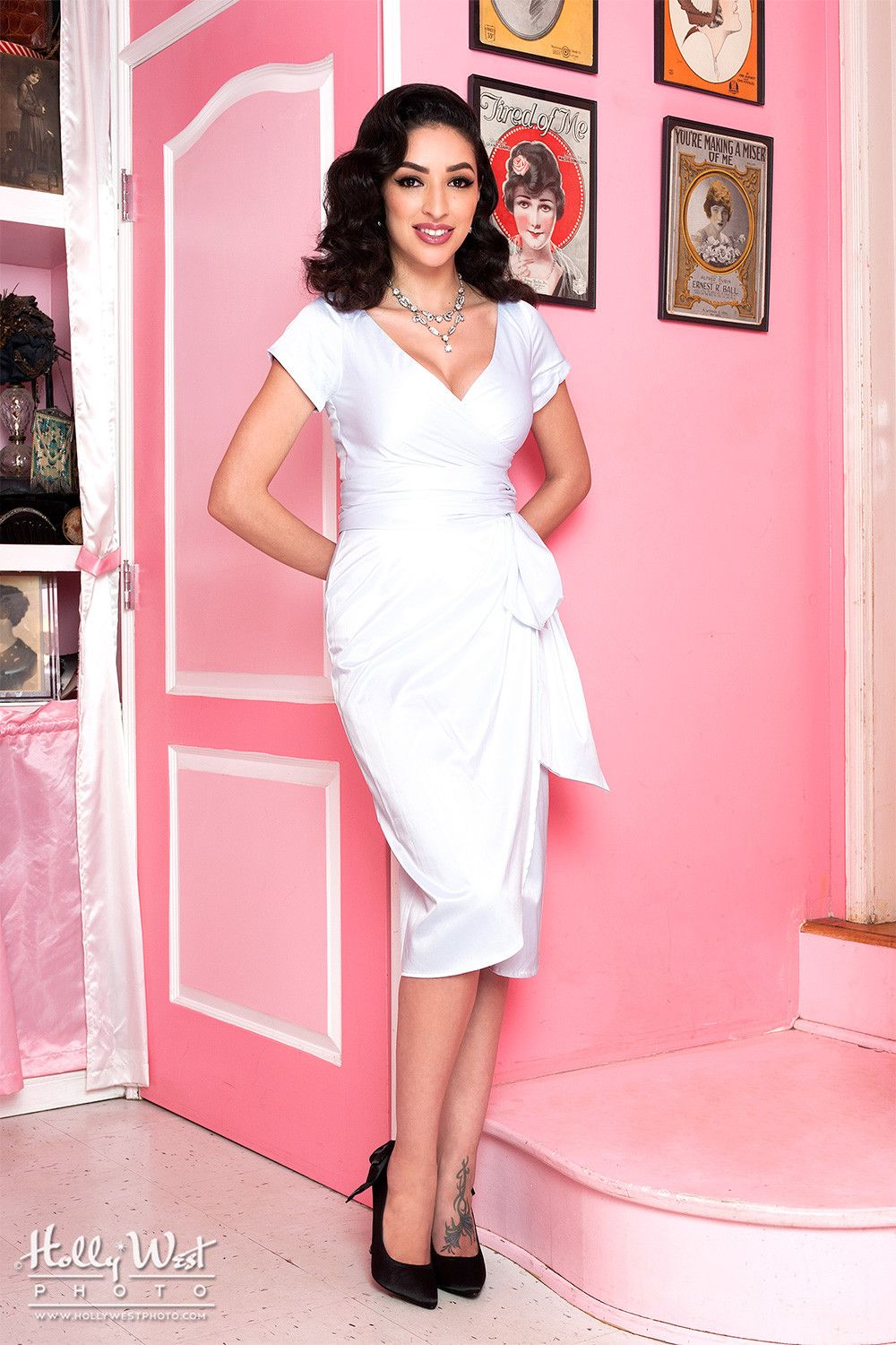 Pinup Couture Ava Dress in Bridal White | Vintage Style Bridal Dress ...
