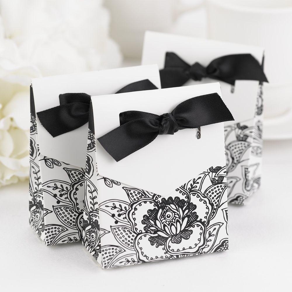 Black White Merlot Eggplant Floral Wedding Favor Container Boxes w ...