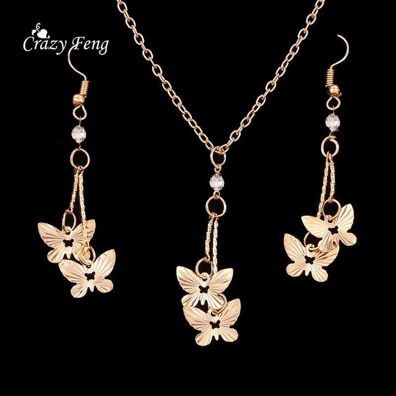 New Butterfly Women\'s Fashion Jewelry Set Necklace Earrings Gold ...