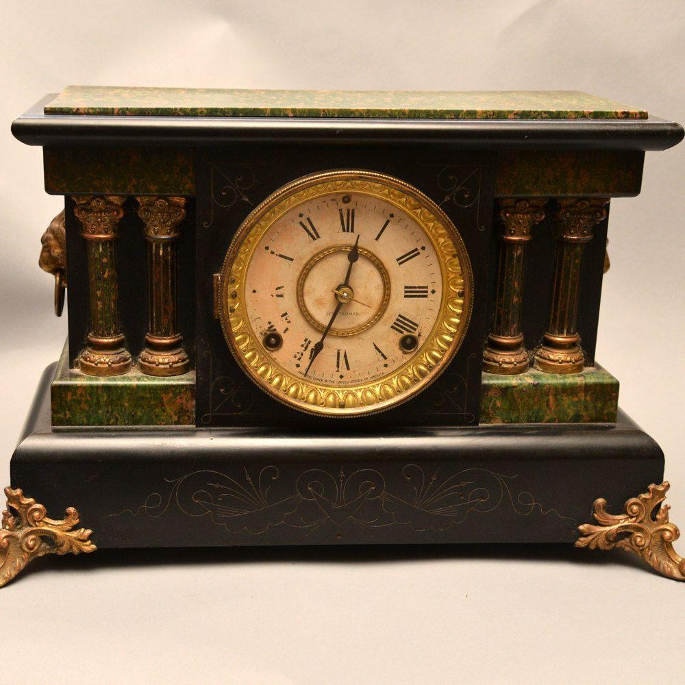 Adamantine Pillar Clock Circa 1900 Seth Thomas Mantle Clock