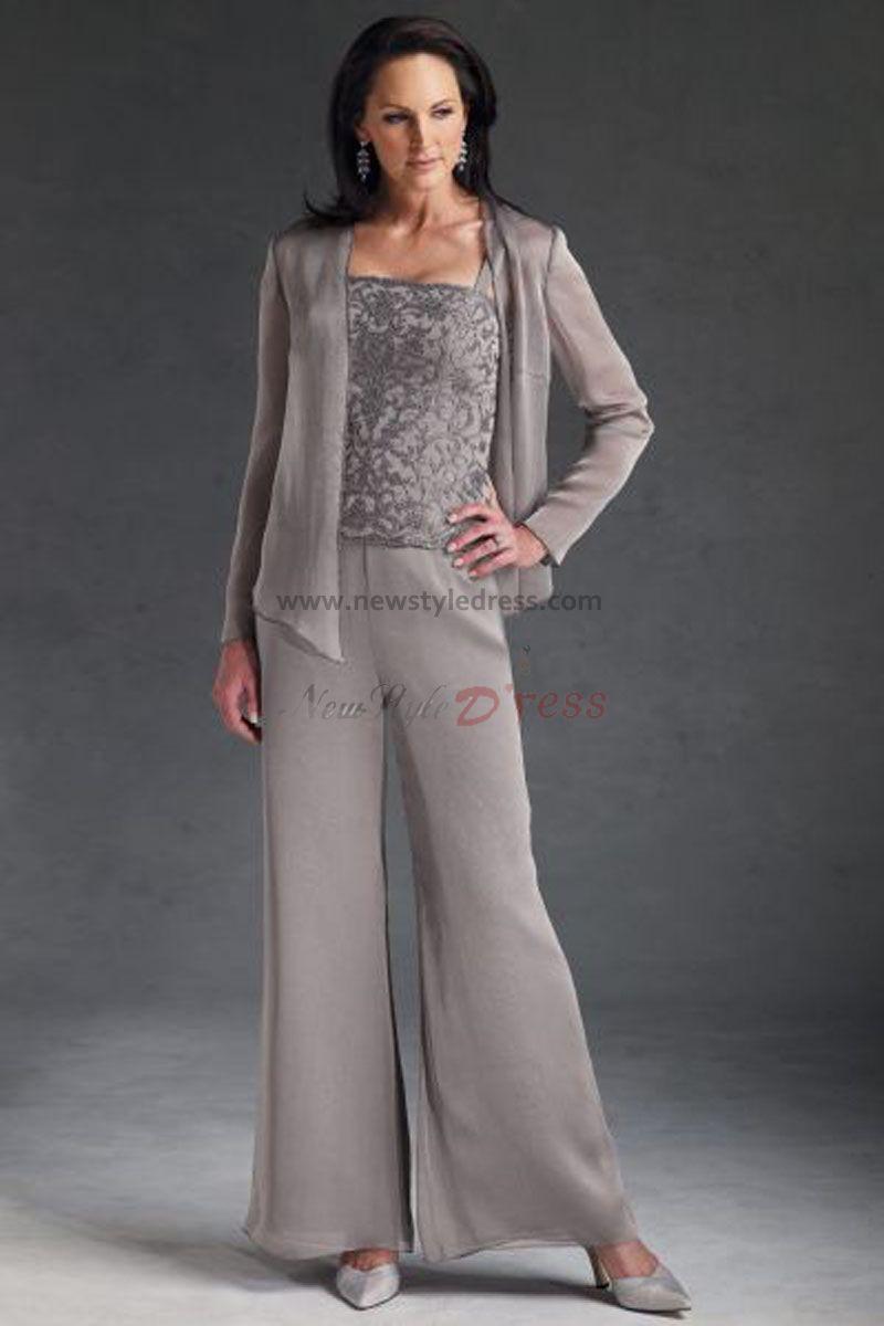 50\'s style mother of the groom attire | cheap three piece Chiffon ...