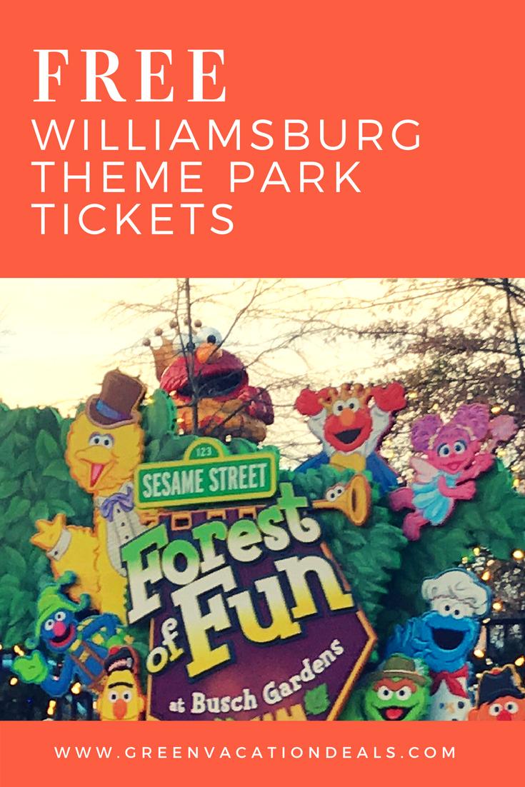 Free Busch Gardens Water Country USA Williamsburg Tickets