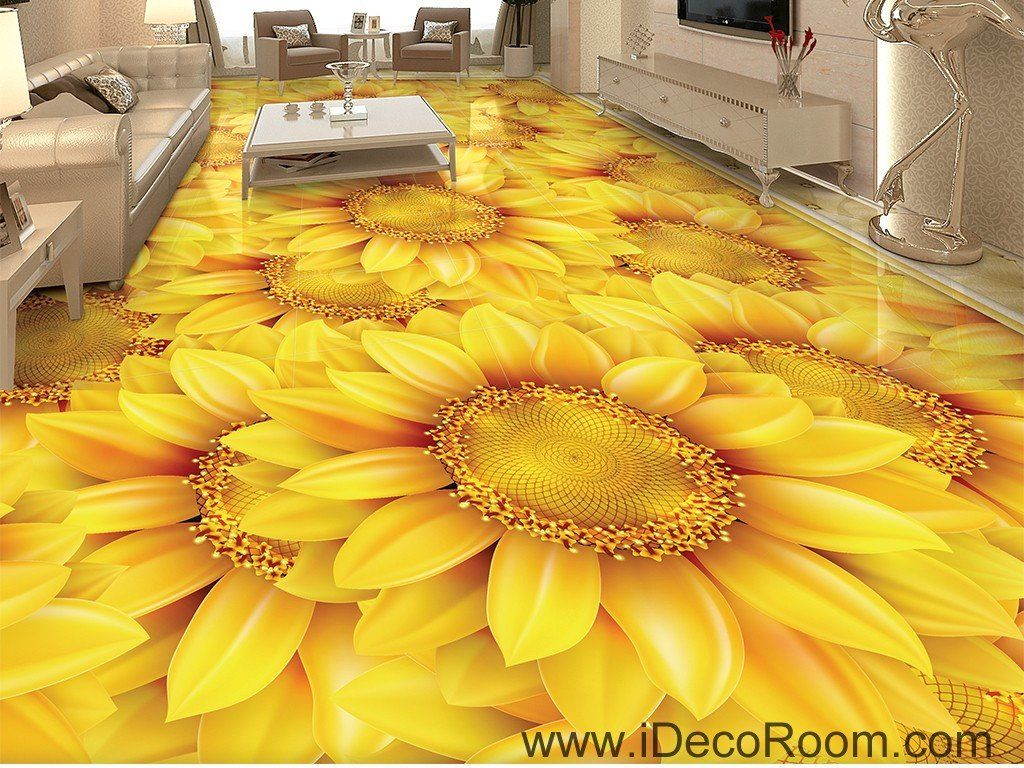 Gold sunflowers field 00044 floor decals 3d wallpaper wall for Kitchen wallpaper 3d