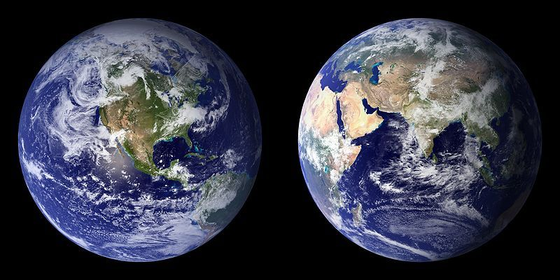 Blue Marble Composite Images Generated By Nasa In 2001 Left And 2002 Right Night On Earth Earth From Space Planets