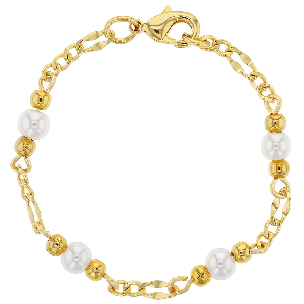K gold plated white simulated pearl baby newborn bracelet