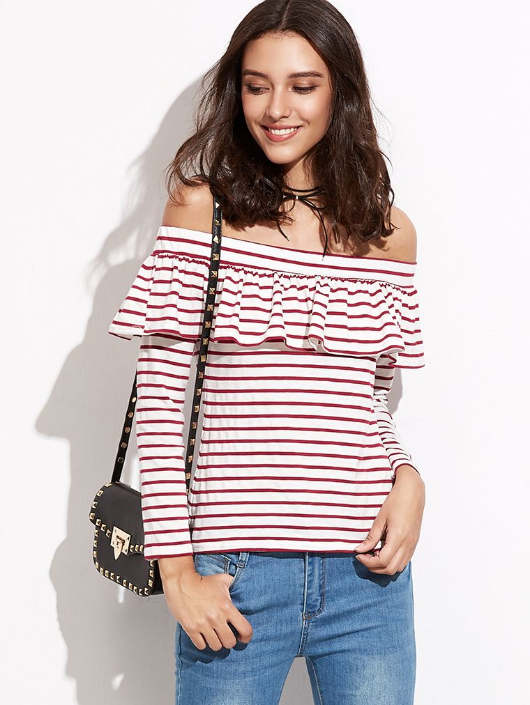 9492a0bae8c5 Shop Contrast Striped Off The Shoulder Ruffle T-shirt online. SheIn offers  Contrast Striped Off The Shoulder Ruffle T-shirt   more to fit your  fashionable ...