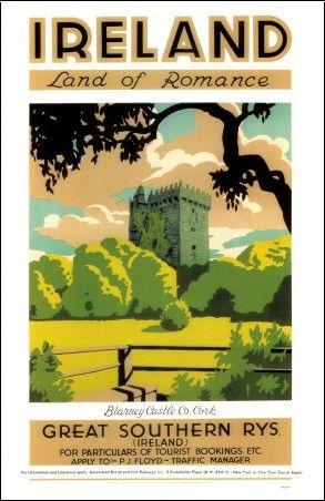 Blarney Castle Visit Ireland Vintage Advert  poster reproduction