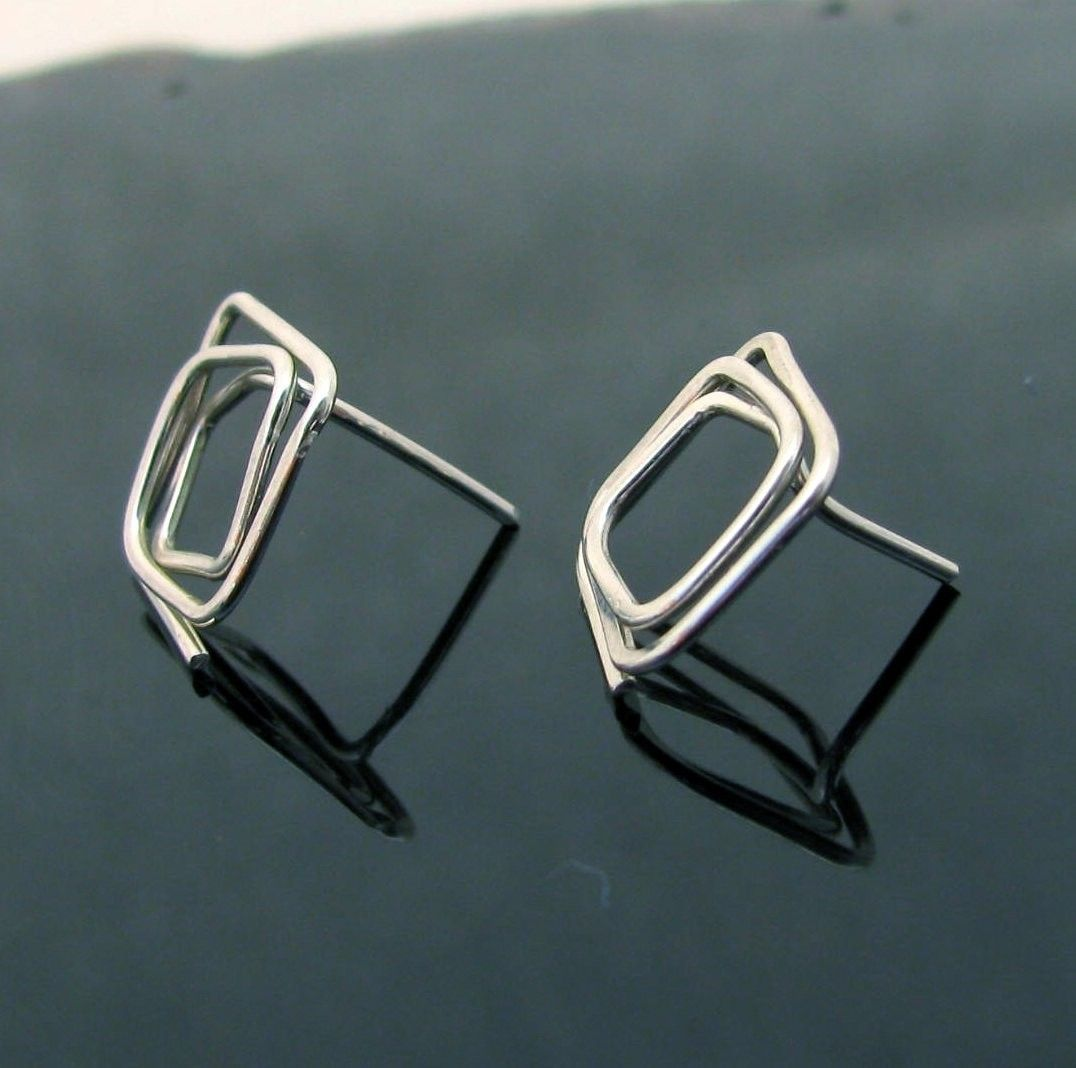 Coiled Squares Post Earrings in Argentium Sterling Silver
