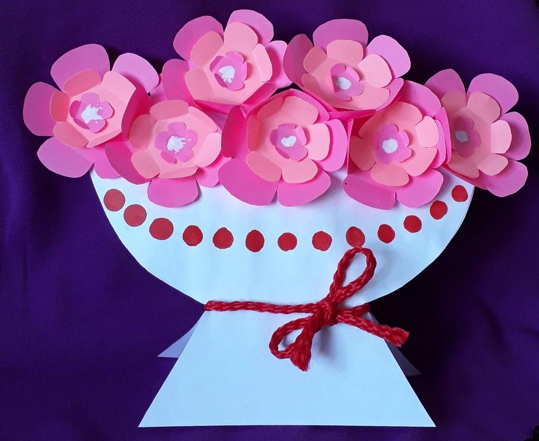 открытка с вазой и цветами из бумаги своими рассчитывался