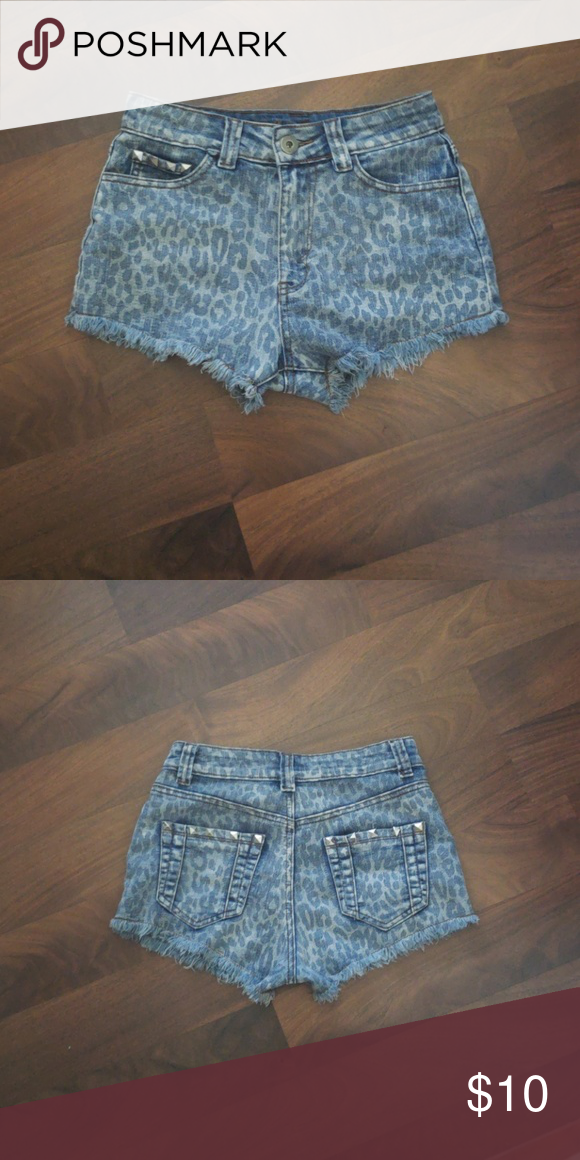 12d3e7b8cf Laura's Boutique Studded Denim Shorts Sz Sm Leopard print studded denim  shorts. High waist fit. Brand on tag says Chiqle but purchased from Laura's  boutique ...