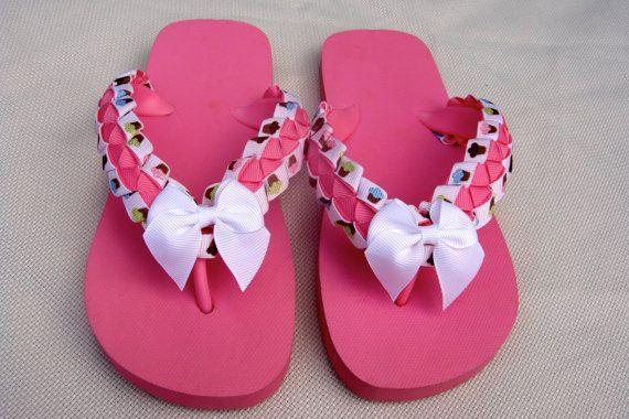 Cupcake Grosgrain Ribbon on Pink Flip Flops  by JillysFrillysShop, $15.00 #teamdream #RT