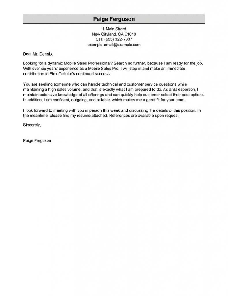 Sample Email Cover Letter Examples | Sample Email Cover Letter ...