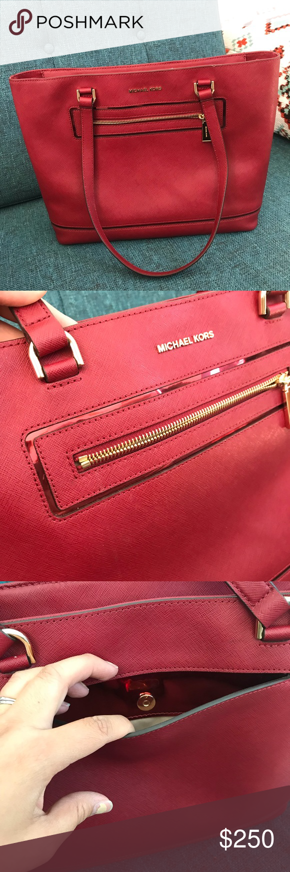 New Michael Kors Frame Out Bag NWT Cherry 🍒 red New Michael Kors Frame Out  Bag 475579c0d06b8