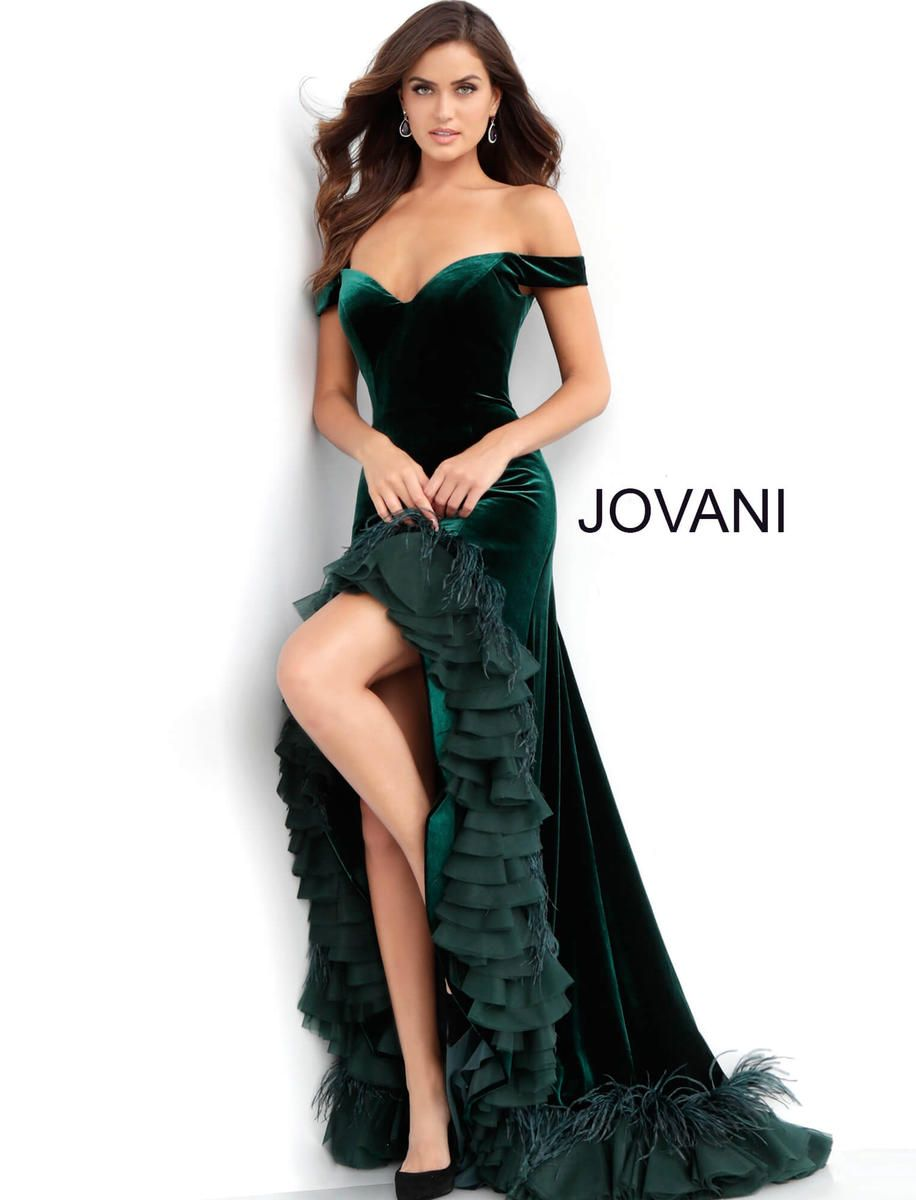 bd0f88a107 Check out the deal on Jovani 62379 Off Shoulder Ruffle Velvet Prom Gown at French  Novelty