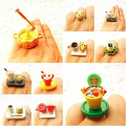 Kawaii Cute Miniature Food Rings (Kawaii Floating Food Rings), Earrings, Pendants and Traditional Japanese Jewelry on Etsy Shop. http://www.etsy.com/shop/souzoucreations