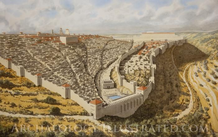 Jerusalem In The Time Of Jesus Looking North When The Passion