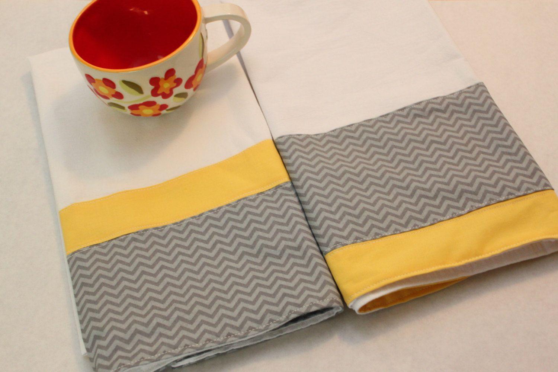 grey chevron kitchen towel (tea, kitchen towel), set of 2