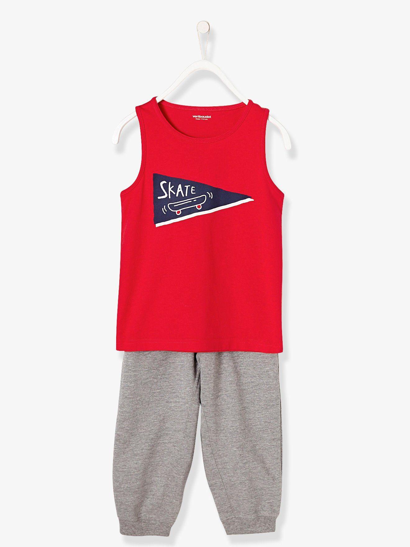 3f870101fa0e3 Pyjama sarouel garçon bi-matière rouge - Un style cool pour ce pyjama qui va