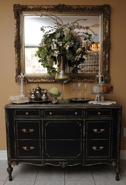 Dresser, Turned Into Folding Table, For The Mudroom. Stained A Dark Walnut  · Black Buffet ...