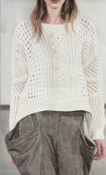 Patrón #114: Suéter Blanco a Dos Agujas #crochet http://blgs.co ...