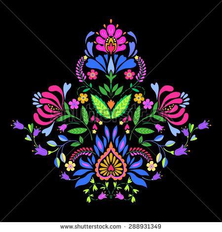 folk flowers, decorative symmetric vector floral illustration ...