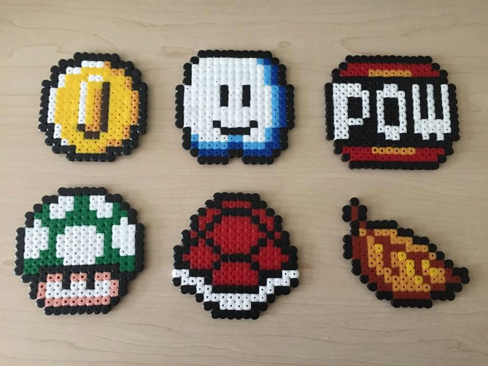 super mario items hama perler beads by beadsbygeeks perler mess pinterest hama perles. Black Bedroom Furniture Sets. Home Design Ideas