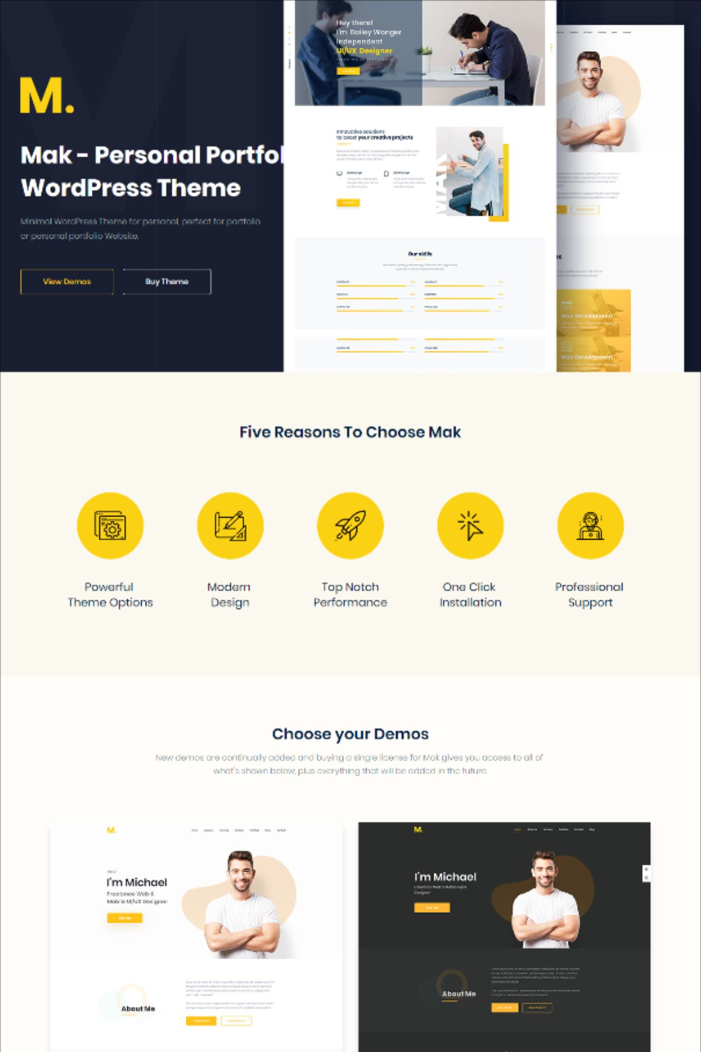 Mak Personal Portfolio & Resume WordPress Theme