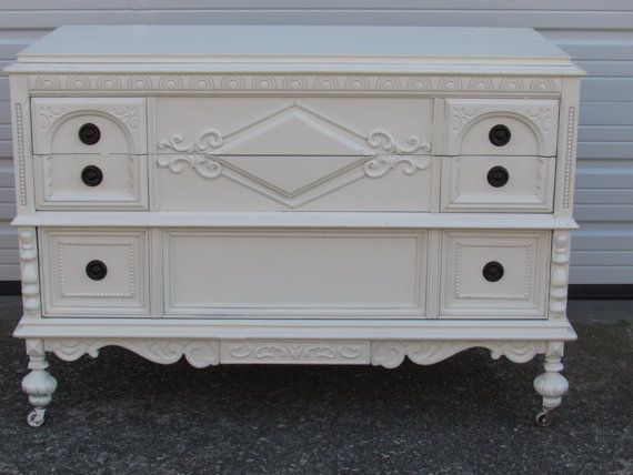 Vintage Painted Lowboy  Shabby Chic Dresser by VforVintageInc