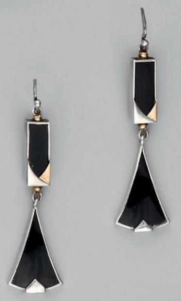 Boucles d/'Oreilles Clous Art Deco Carré Argenté Simple Elegant Vintage