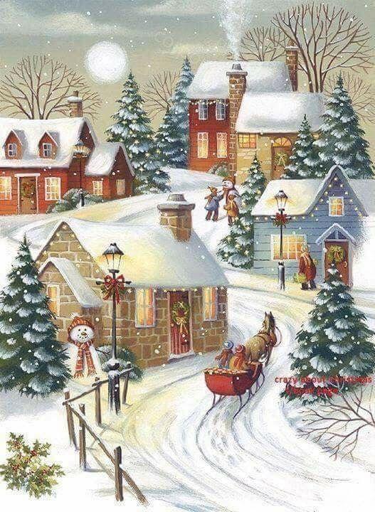 Pin By Thalia Kefalonia On Art Winter Christmas Scenes Christmas Illustration Christmas Paintings