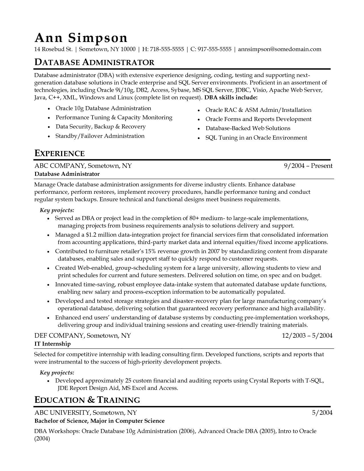 Sql Database Administrator Resume Experts Opinions Database