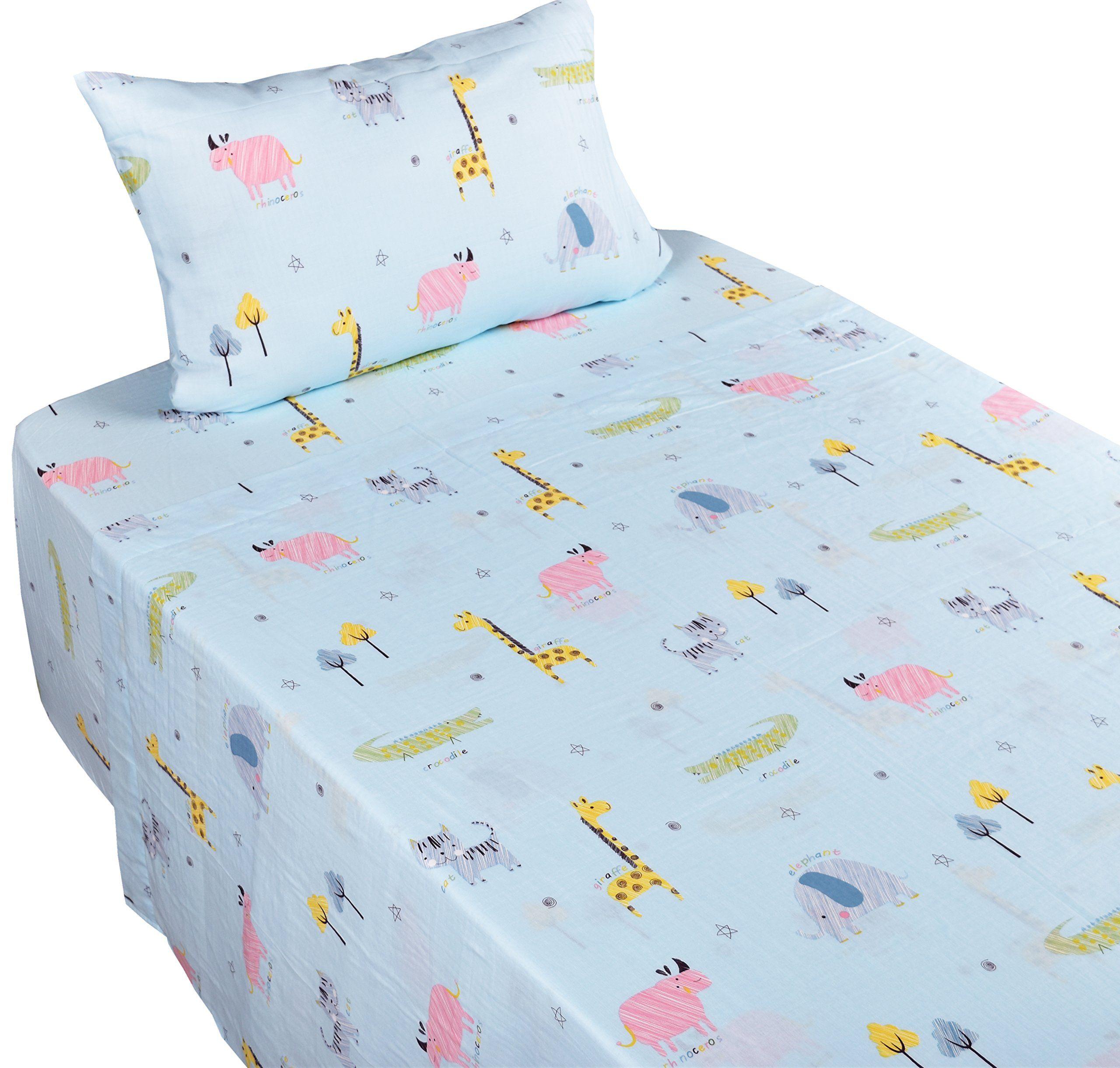 Fitted Sheet Pillowcase Bedding Set Flat Sheet J-pinno Cute Cartoon Pink Dinosaur Twin Sheet Set for Kids Girl Children,100/% Cotton