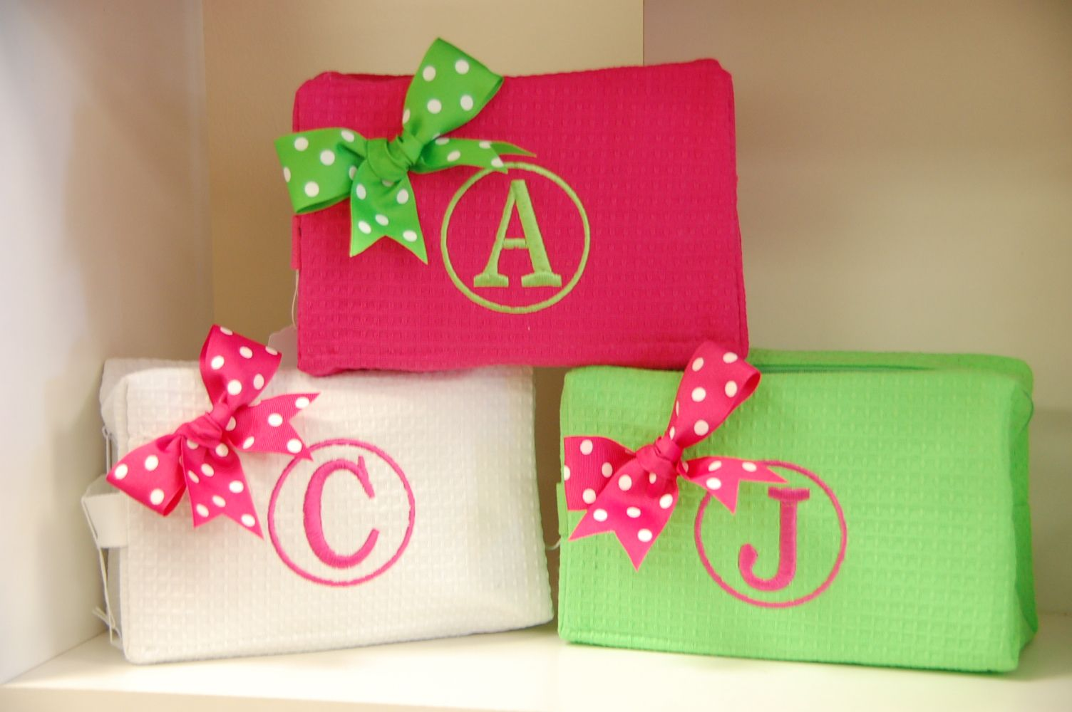 Monogrammed cosmetic cases make great birthday or graduation gifts...perfect for bridesmaids, as well