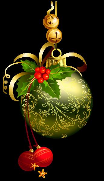 Green Transparent Christmas Ball with Mistletoe Clipart