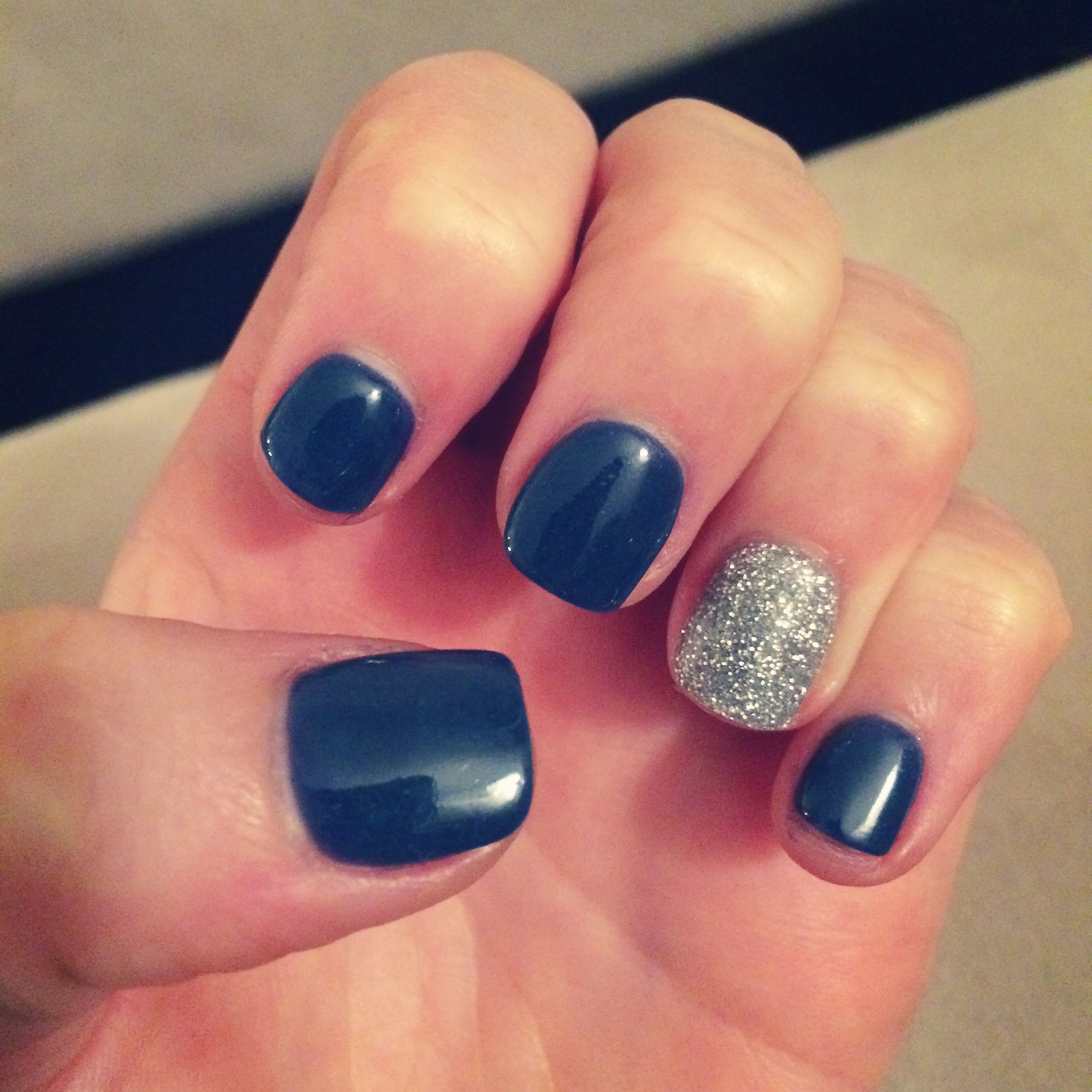 Nexgen Navy And Silver Glitter Nails For The Winter With Images