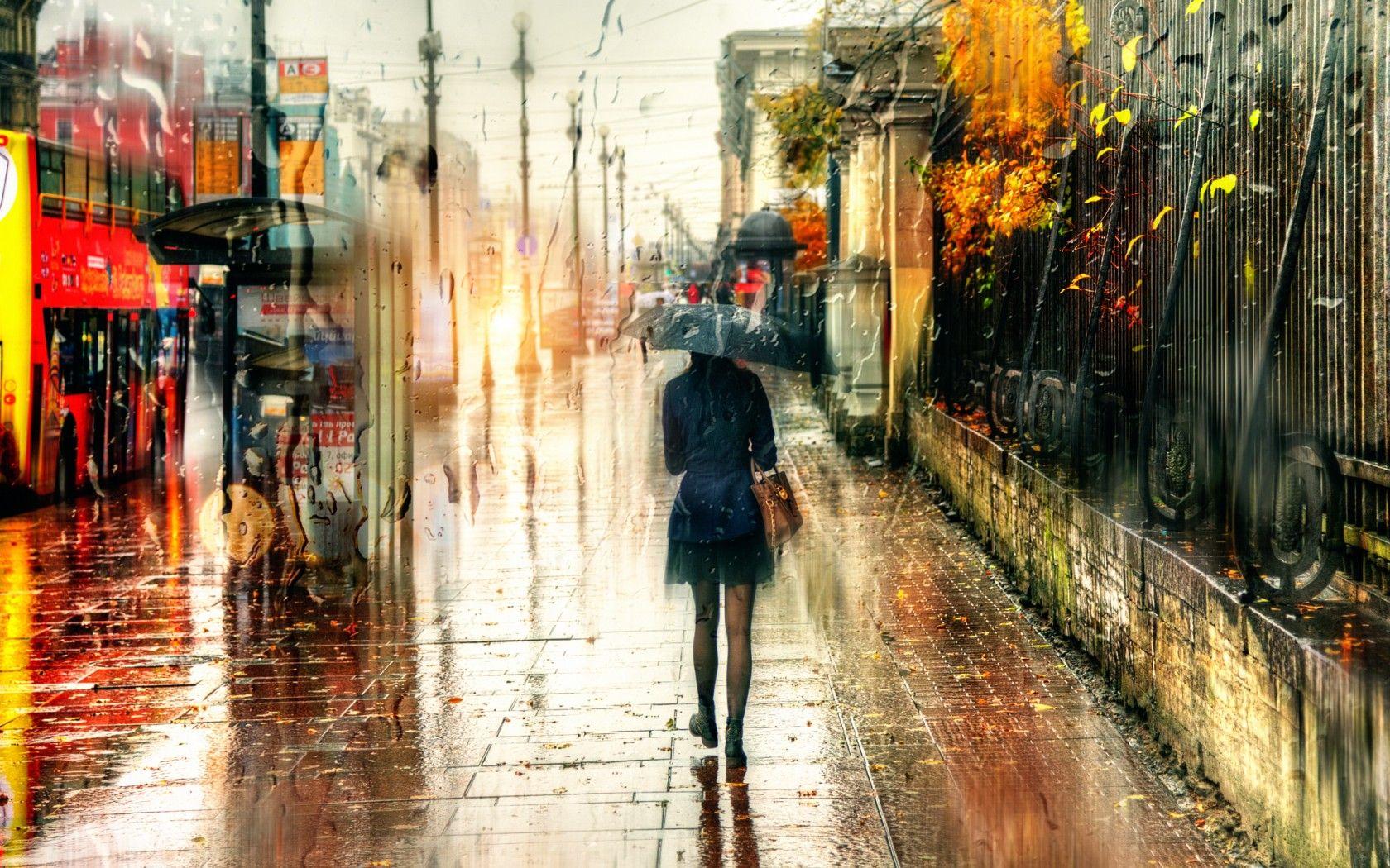 Обои зонт, капли, россия, дождь. Города foto 17