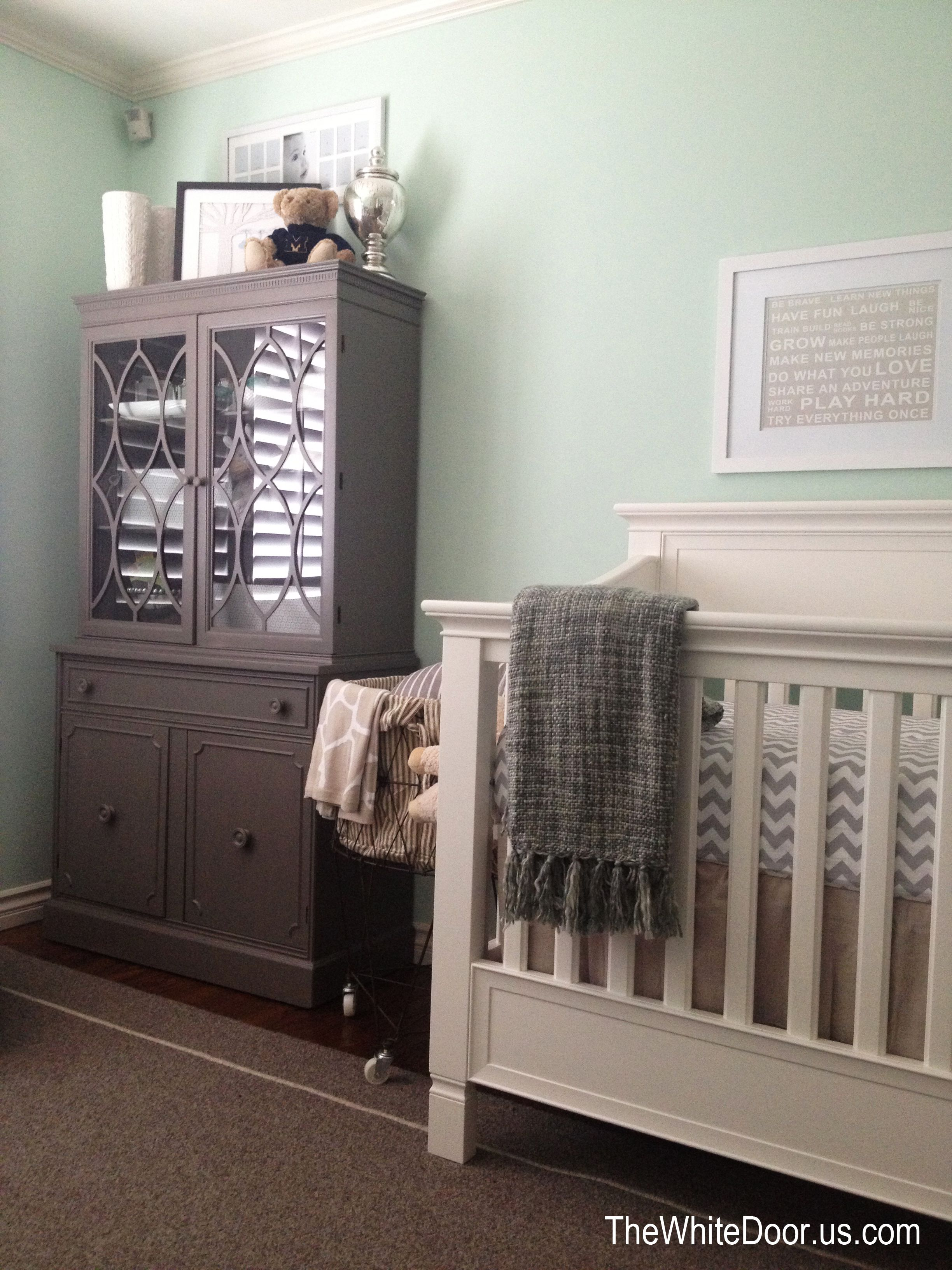 Mint Green Walls White Crib And Dresser Beige And White