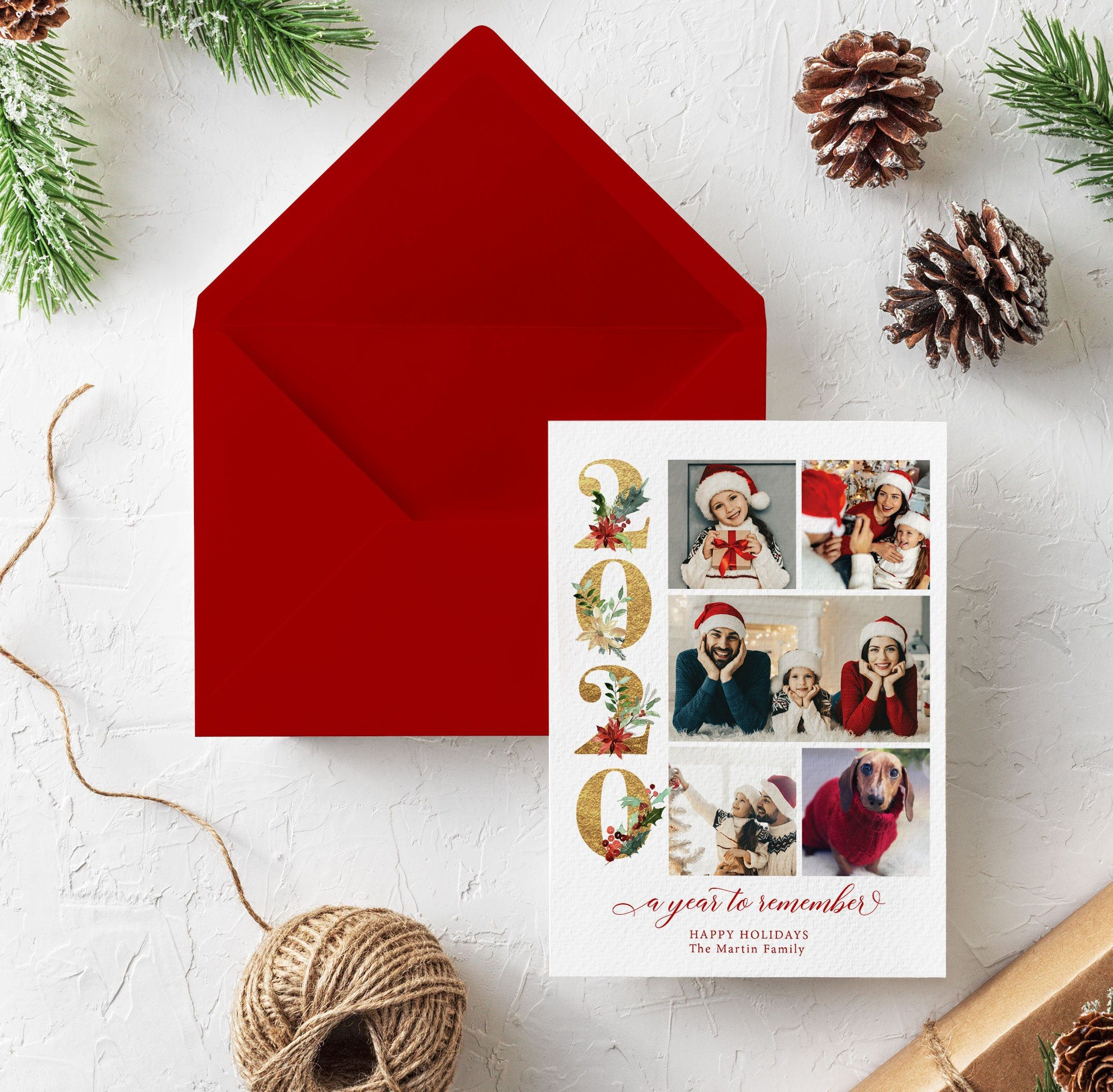 Christmas Card 2020 With Photo Template Printable Xmas Card Photo Holiday Card Editable Template New Years Card Hc2020 Christmas Cards Christmas Card Template Holiday Cards