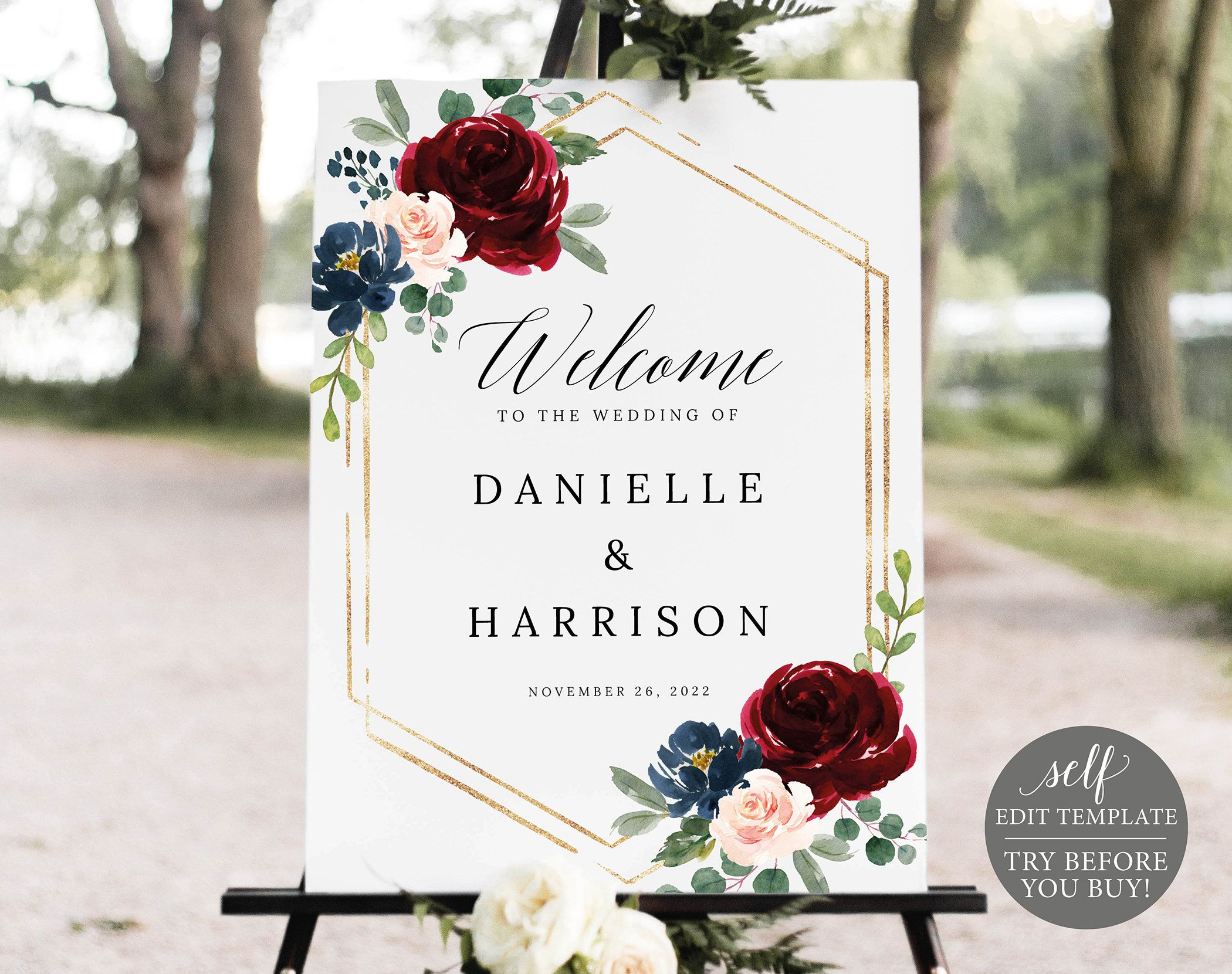 EDITABLE Bridal Shower Welcome sign template Printable floral burgundy marsala signs Edit in TEMPLETT Instant download