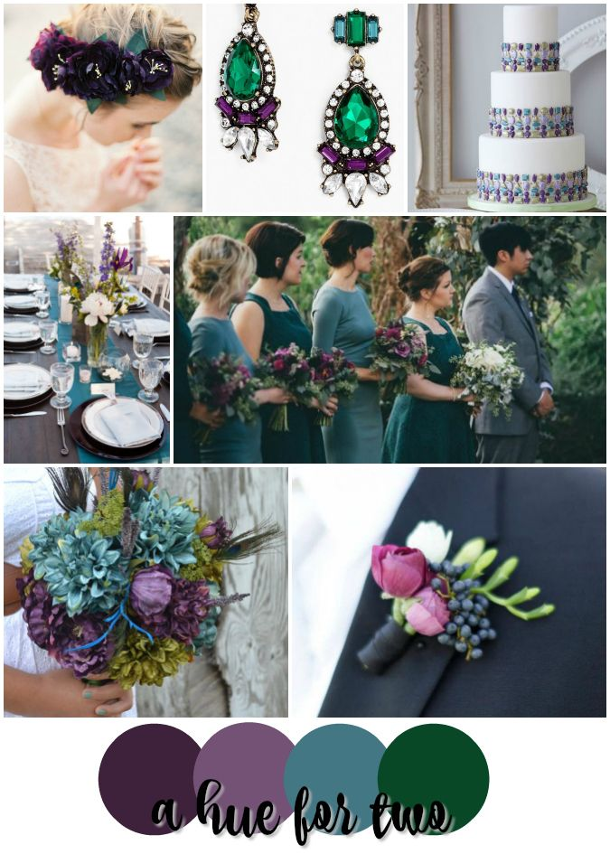 Eggplant Purple Teal Blue And Emerald Green Wedding Colour Scheme Jewel Tone Colors A Hue For Two Www Ahuefortwo