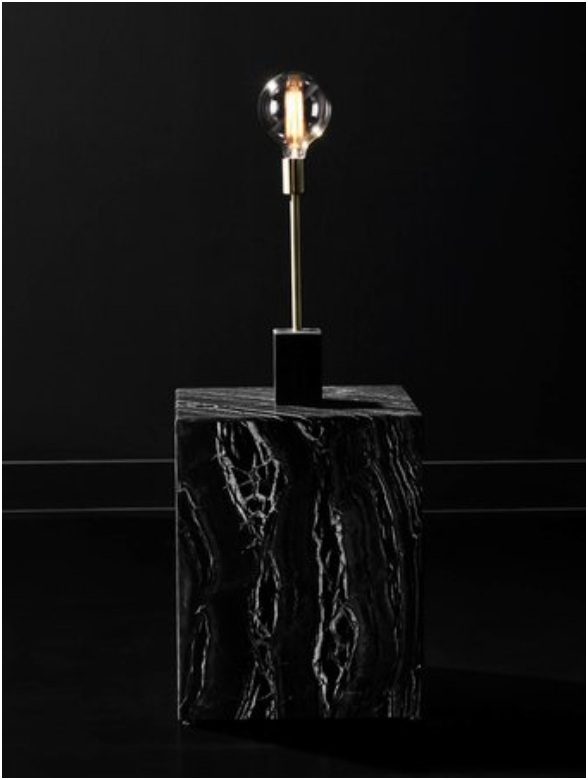 The Ewen Table Light Embraces A Vertical Minimalist Aesthetic Pared Down Modernism Is Blended With Mixed Materials In Brushed With Images Marble Light Table Black Marble