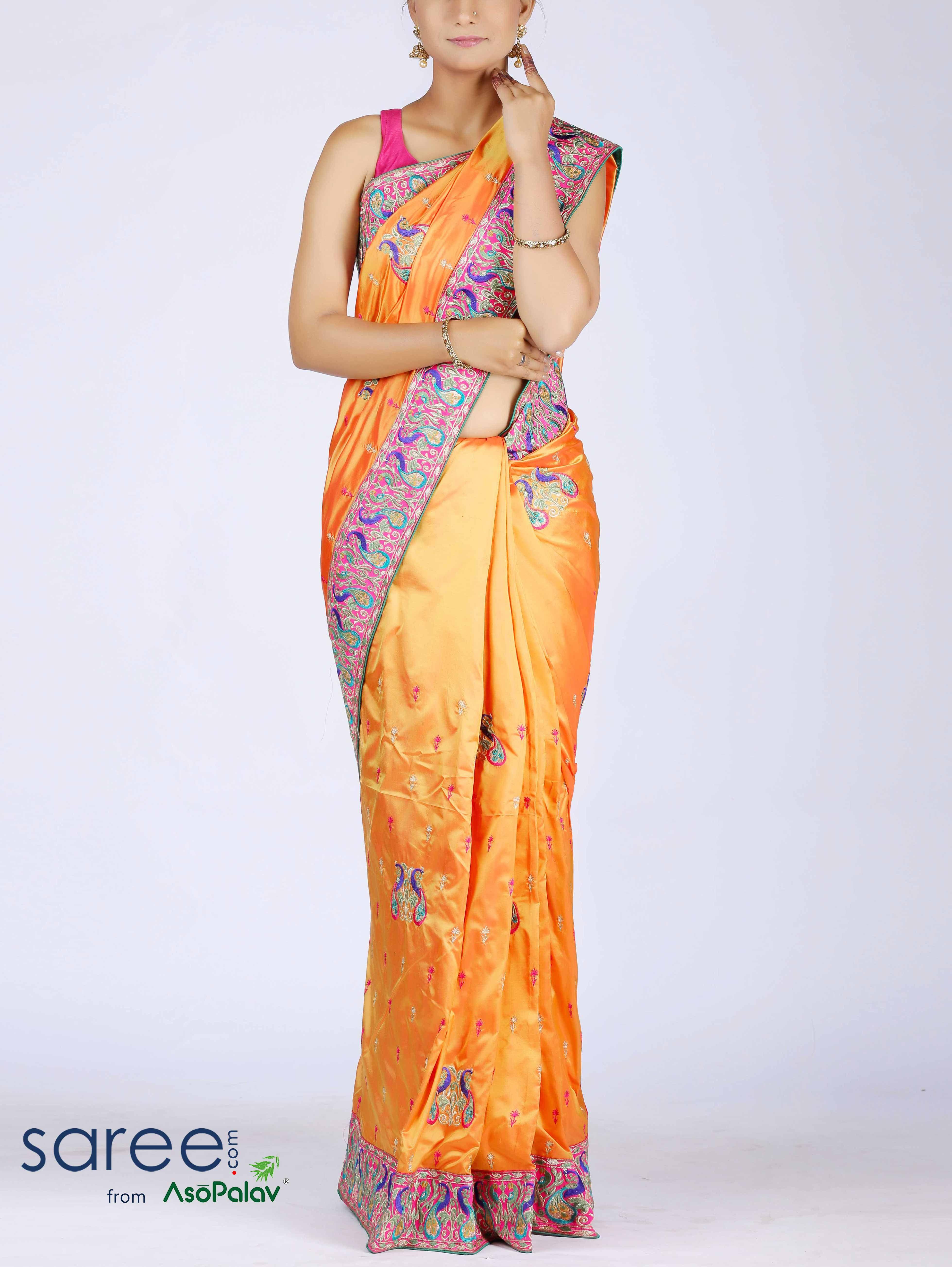 Yellow silk saree yellow silk saree with resham work  silk sarees saree and silk