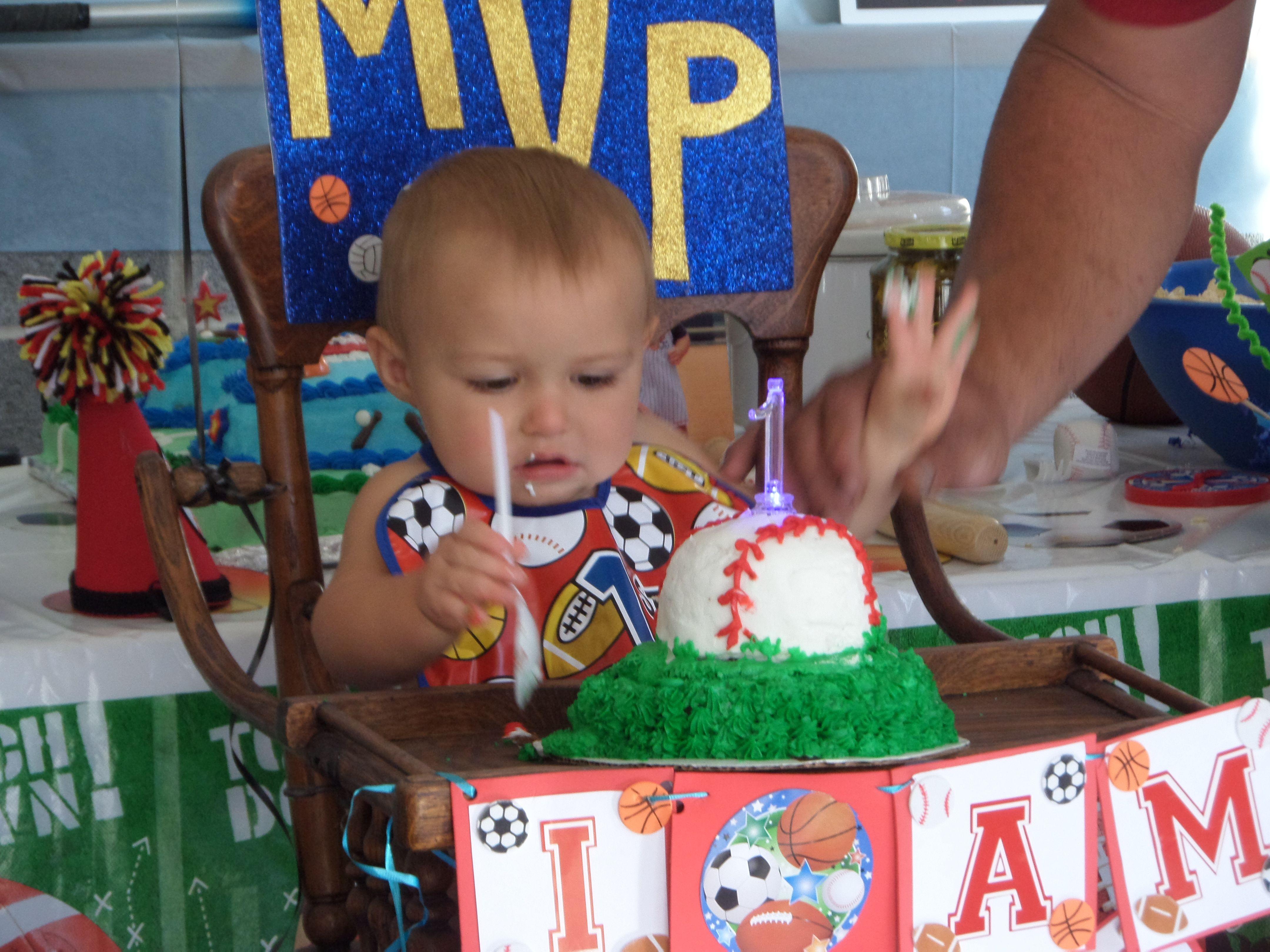 Allstar Sports Theme First Birthday Party Baseball Smash Cake - All star birthday cake