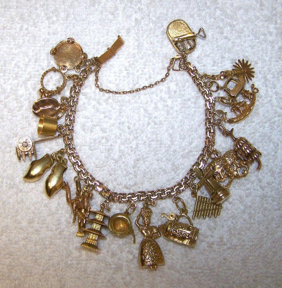 Pandora Jewelry Meaning: Vintage 14k Solid Gold Charm Bracelet With 20 14k & 18k